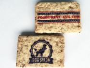 市販の玄米ブランクッキーに可食インクでインクジェット印刷。表面に凹凸はありますが、濃い色のデザインで目を引く仕上がりになりました。