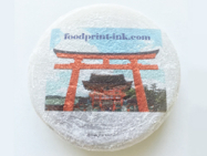 市販の大福餅に可食インクジェットでダイレクトプリント。表面の粉の上にキレイに印刷できました。