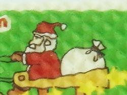 ウエハースにクリスマスサンタのイラストを可食プリント。