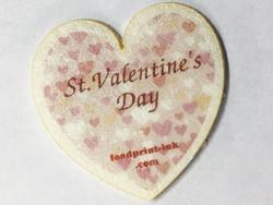 ハート型の焼き菓子シートにバレンタイン(Valentine)イラストを可食プリント。