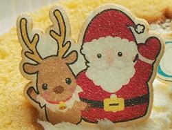 お菓子プリント 焼き菓子シート:ケーキなどのサンタとトナカイプリントのデコレーションパーツ