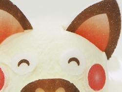 2:アイスクリームにデザインのプリント焼き菓子シート(可食シート)でオリジナル 動物アイス アップ
