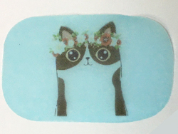 市販の紙石鹸に、ねこのイラストををにダイレクトプリントしました。
